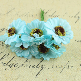 Wholesale Purple Chrysanthemum Flower - Artificial flowers heads DIY small real touch daisy silk flowers chrysanthemum sunflowers flowers for Wedding home decoration P.C 115-1021