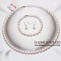 Conjuntos de pérolas puras on-line-Conjuntos de Jóias de Pérola de alta Qualidade Pure White Rice colar 925 Sterling Silver Earrings Brincos de Pérolas Jóias Para As Mulheres.