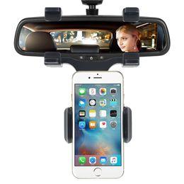 Soporte para teléfono celular espejo online-Universal Car Rearview Mirror Phone Mount Holder Strand Truck Auto Cradle for Mobile GPS Cell Phone GPS