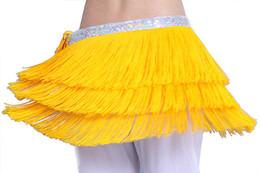 Wholesale belly dancing waist scarf - Belly Dancing Belt Waistband 3 Layers Tassel Hip Scarf Skirt Wrap Women Performance Dancing Waist Chain