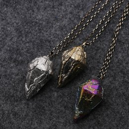Wholesale Western Slides - Western Fashion Jewelry Accessories Product Imperial Jasper Pendant Necklace Creative Electroplating Conical Sweater Chain For Man and Woman