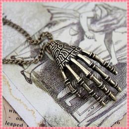 Wholesale Punk Rock Necklaces Women - Wholesale-Zinc alloy vintage pendant necklace for women Skeleton of hand design punk rock necklaces fashion steampunk jewelry (#NL050)