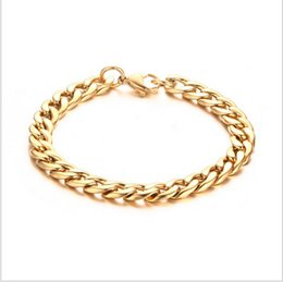 Wholesale Metal Curb Chain - Metal Cuban Curb Link Chain Men's Bracelets Powerful Stainless Steel Rose Gold-plated Bracelet
