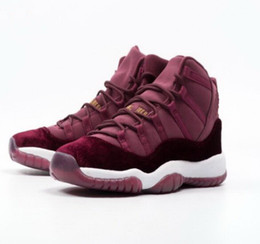 Wholesale Cheap Christmas Boxes - (With Box)Velvet Heiress Maroon Retro 11 Basketball Shoes for men women kids,us5.5-13 11s athletic shoes cheap mens womens sneakers