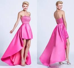 Wholesale Low Priced Long Dresses - Fuchsia Prom Dress Long Pearls Strapless Neck High Low Party Dress Sleeveless Custom Made Formal Wear Cheap Price Hot Sale Modest