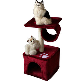 Wholesale Pet Cat Tree - Cat Climbing Frame Heigh Cat Safety Soft Cats Houses With Footprint Pattern Short Plush Pets Tree Toys New Arrival 49zf B