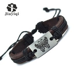 Wholesale Bracelet Butterfly Leather - Wholesale-Jiayiqi 2016 Fashion Cuff Charm Classic Rope Leather Bracelets & Bangles Vintage Butterfly Bracelet For Women Jewelry