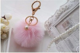 Wholesale Car Rings Jewelry - Faux Rabbit Fur Ball Pompon Keychain Trinket Fluffy Pom Pom Pearl Key Chain Women Key Ring Holder For Bag Car Jewelry Gift