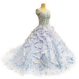 Wholesale Tailored Gowns - Tailor Custom Made Luxury Royal Court Quinceanera Dresses Sweet 16 Appliqued Ball Gowns Organza Ruffles 1970s Vintage Party Dress