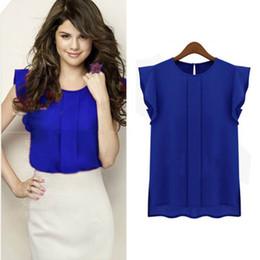Wholesale Lady T Shirt Sale - Wholesale- Summer Women T-shirt Chiffon Clothing Lady Shirt Sale Ruffle Short Sleeve Tops OL Camiseta