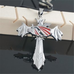 Wholesale Bleach Pendant - Wholesale-New Fashion Anime Jewelry Bleach Cross Shape Necklace Stainless Steel Pendant Necklaces Christmas Gift