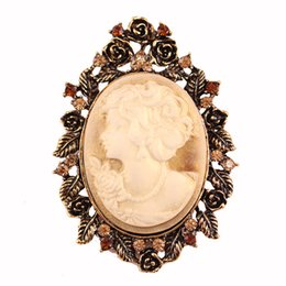 Wholesale Wedding Cameo Brooch - Wholesale- Fiona Hijab pins Vintage Elegant Beauty Cameo Rhinestone Brooch pins for women wedding and party brooch lapel pins christmas