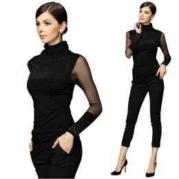 Wholesale Thin Lace Sweater - Wholesale-2016 Women Sweaters Plus Size 3XL Sweter Mujer Black Sexy Turtleneck Diamond Pullover Slim Lace Long Sleeve Basic Pull Femme