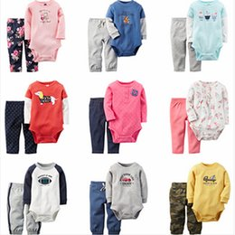 Wholesale Winter Bodysuits For Babies - Wholesale- 2016 New baby boys girls bodysuits clothing set Autumn clothes set bodysuit+pants 2pcs for baby girl boy 0-24M