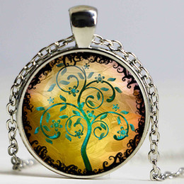 Wholesale Black White Tree Art - New Art Picture Tree of Life Vintage Glass Cabochon Pendant Black Chain Necklace Man Woman Dome Jewelry Chidren Kid Gifts