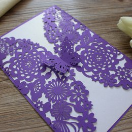 Wholesale Invitation For Engagement - Butterfly Wed Invitation Card Purple Invitation for Engagement Marriage Graduation Birthday Laser Invitation card Free Shipping