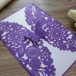 Papillon Wed Invitation Carte Violet Invitation pour Fiançailles Mariage Graduation Anniversaire Laser Invitation carte Livraison Gratuite ? partir de fabricateur