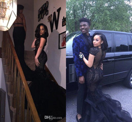 Wholesale Couples Dresses - 2017 New Sexy Black Lace Appliqued Short Sleeves Mermaid Prom Dresses Formal Evening Gowns Couple Fashion Party Dresses Custom Made BA5078