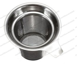 Wholesale Tea Cup Gift Box - NEW 304 Stainless Steel Mesh Cup Reusable Strainer Herbal Locking Tea Filter Infuser Spice 7.5x8.8cm free shipping MYY