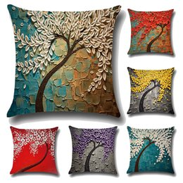 Wholesale Chair Covers Linens - 45*45cm 3D Painting Trees Flowers Linen Printed Throw Pillow Case Cushion Cover For Office Chair Decorative Pillowcase Fashion Sets