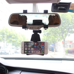 Wholesale Cell Phone Auto Mount - Wholesale- Universal Auto Car Rearview Mirror Mount Stand Holder Cradle For Cell Phone GPS