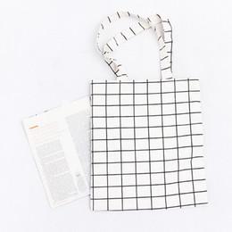 Wholesale Grid Bag For Women - Wholesale Fashion new design square grid pattern canvas tote bag ladies handbag shopping bag for promotion