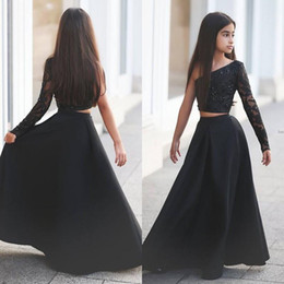 Wholesale One Birthday - Arabic Said Mhamad Black One Shoulder Long Sleeve Kids Prom Dresses A Line Two Piece Beaded Flower Girls Dresses 2017