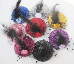 Wholesale Feather Barrette Hair Clip - Wholesale Wedding hat with rose hairpin hair clips Shining high-grade feather flower girl's hairpin 40pcs lot Free Shipping