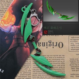 Wholesale Weapon Keyring Keychain - New Arrival Dota 2 Rainmaker Green Bow Weapon Metal Keychain High Quality Enamel Key Chain Keyrings for Fan's Gifts 10pcs lot