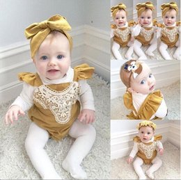 Wholesale Organic Baby Rompers - Infant baby girl lace rompers newborn toddlers lace splice one piece jumpsuit baby soft cotton bodysuit