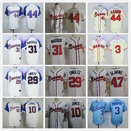 Wholesale Men S Toms - 44 Hank Aaron Jerseys Atlanta Braves Baseball Jerseys Throwback 3 Dale Murphy 31 Greg Maddux 29 John Smoltz 47 Tom Glavine 10 Chipper Jones
