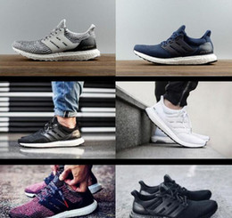 Wholesale New Fabric Collections - 2017 New All White Ultra boosts 3.0 Sneakers Men Footwear Triple White Women Running Shoes Sports Shoes ultuaboost 3.0 Collection