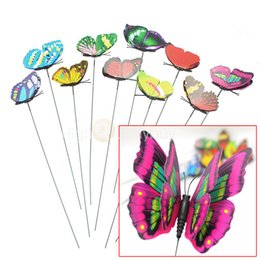 Wholesale White Butterfly Wedding Decor - Wholesale-10 pcs New Colorful Double Wing 3D Mode Artficial Butterflies On Sticks Party Wedding Home Decor Garden Plant Yard DIY Craft