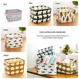 Wholesale Linen Storage Baskets - Laundry Storage Baskets Box Portable Cotton Linen Foldable Basket Cloth Toy Snack Organizer 5 Color YYA283