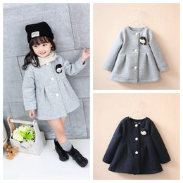 Wholesale Penguin Girl - Autumn Winter Children Jackets Baby Little Penguin Single Breasted Child Coat Girl Outerwear Jackets For Girls Bow Girl Clothes