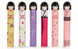 Wholesale Kokeshi Folding Umbrella - Novelty Kokeshi Doll Folding Umbrella Japanese Dolls Cute Bottle Folding Kimono Girl Traditional Umbrella - 8 Colors