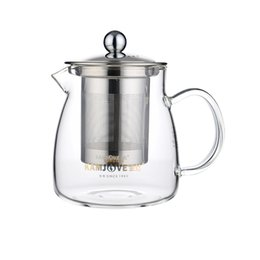 Wholesale Glass Teapot Strainer - hot sell 2017 Genuine heat-resistant food grade high borosilicate stainless steel filter glass teapot 500ml