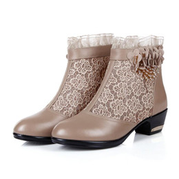 Wholesale Big Nets - 2017 new genuine leather Naked boots network boots leather sandals with big yards hollow net yarn lace summer boots women shoes