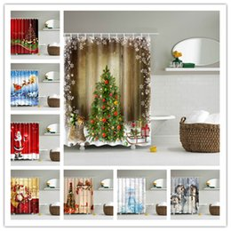Wholesale Wholesale Curtain Fabric - Creative Shower Curtain Christmas Fabric Waterproof Bathroom Santa Digital Printing Shower Curtains Decor for Home 32 Styles