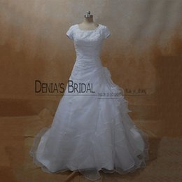 Wholesale T Shirt Ruffle Skirt - 2017 Scoop A-Line Wedding Dresses Short Sleeves Crystals One Side Cascading Ruffles Floor Length Court Train Bridal Gowns