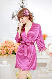 Wholesale Pyjamas Women Silk - Sexy Lingerie Set Kimono Dress +G-string Silk Lace Sleepwear Pyjamas Sexy Customs for Women Langerie Baby doll and Sex String Robe Underwear