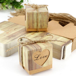 Wholesale Handmade Crafted Birthday - Vintage Kraft Paper Hollow Out Love Heart Favor Gift Box Wedding Birthday Party Handmade Soap Jewelry Candy Wrap Packaging Boxes