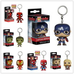 Wholesale Iron Man Funko - Funko POP Super Hero Action Figurines Toys Deadpool Captain America Iron Man Hulk Thor Spider-Man Cartoon Keychain Kids Gifts LA526-2