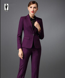 Wholesale Elegant Trouser Suits - UR 147 Spring Purple Custom Made Bussiness Formal Elegant Women Suit Set Blazers And Pants Office Suits Ladies Pants Suits Trouser Suits