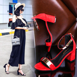 Wholesale Ladies Low Shoes Open - New design women summer high heels sandals buckle fur sequined sexy square toes lady casual shoes