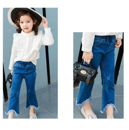 Wholesale Wholesale Clothing Skinny Jeans - Kids Clothing Korean Fashion Denim Girls Jeans tassels Toddler Flared trousers kids Skinny Jeans Children Trouser pants Girls Clothes A920