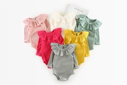 Wholesale Pet Sleeves - INS new arrivals baby kids climbing romper long sleeve ruffler pet pan collar screw thread multi color romper baby fall rompers 100% cotton