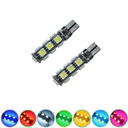Wholesale Light Blue Green Car Color - LEEWA Car T10 194 168 Wedge 13-SMD 5050 LED Light CANBUS No Error Bulb 7-Color #3669