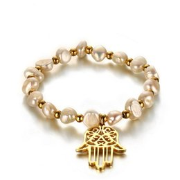 Wholesale Br Wedding - Women Hand Bracelet Hamsa Bangle Gold Plated Simulated Pearl 16.5cm Length Charming Lady Bracelet Wedding Jewelry BR-332