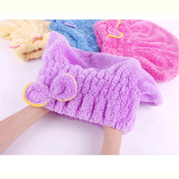 Wholesale Shower Head Cap - Wholesale- Super Absorbent Fast Dry Hair Towel Shower Cap Lovely Bow Thickening Cotton Head Scarf